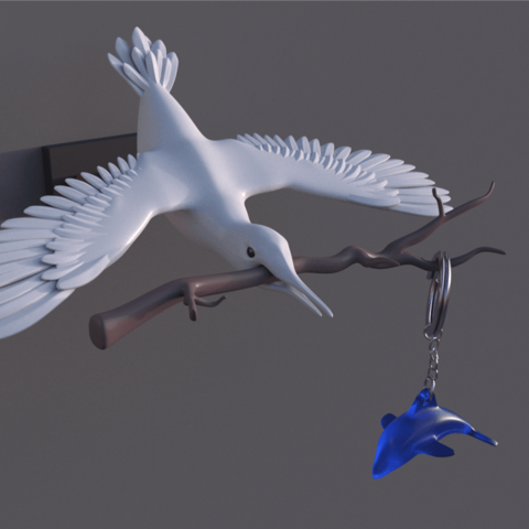 IMG_20190808_223607.png Download free STL file Bird key ring wall • Template to 3D print, Rascof