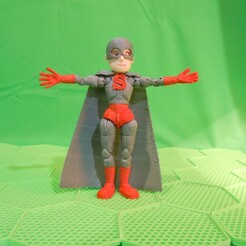 00HERO.jpg Download STL file BENDABLES . . . (MALE HERO - GLOVES+BOOTS+LOGO+CAPE) • 3D printing design, charles_beran