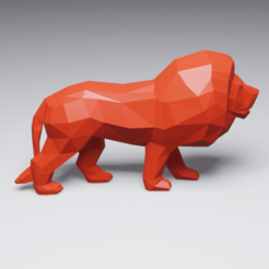 Download 3D printer model Low Poly Lion, 3DyhrDesign