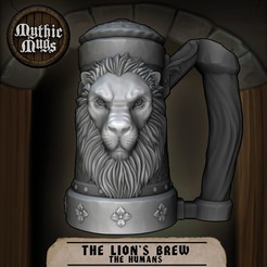 Download free 3D printing designs Mythic Mugs - Lion's Brew - Can Holder / Storage Container, ArsMoriendi3D