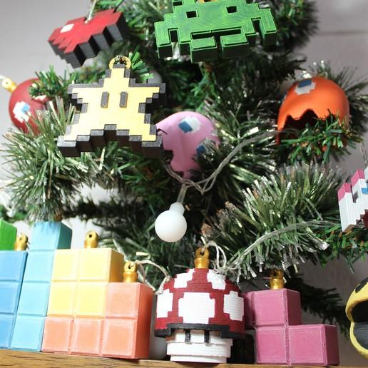 IMG_0717.JPG Download STL file Christmas tree decoration (retro game edition) • 3D printable template, jayceedante