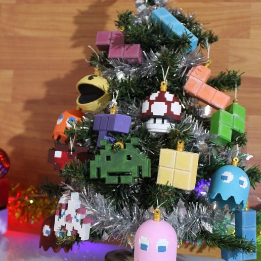 IMG_0821.JPG Download STL file Christmas tree decoration (retro game edition) • 3D printable template, jayceedante