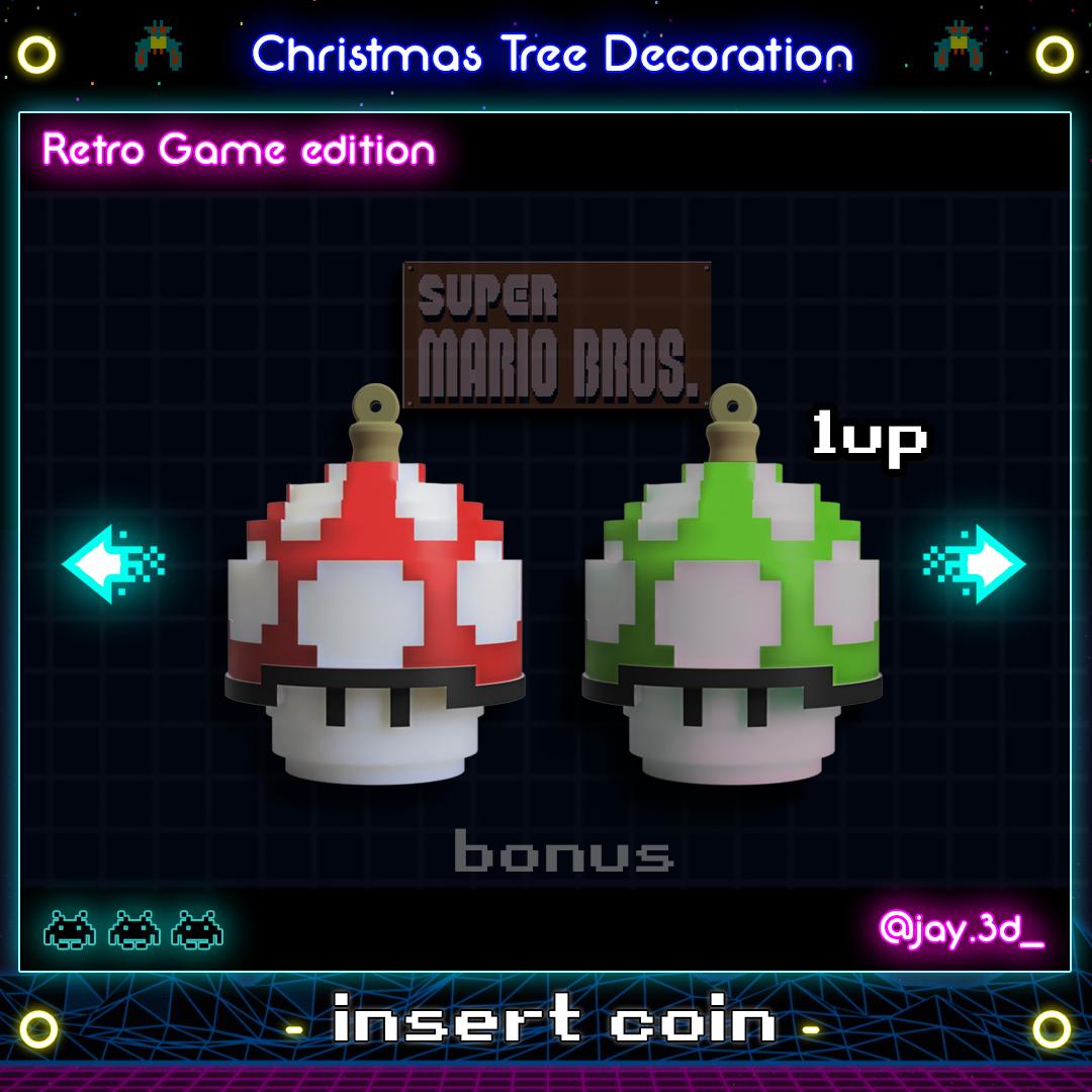 honguito mario ready.jpg Download STL file Christmas tree decoration (retro game edition) • 3D printable template, jayceedante
