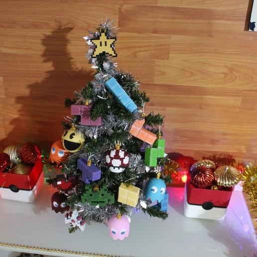 IMG_0813.JPG Download STL file Christmas tree decoration (retro game edition) • 3D printable template, jayceedante