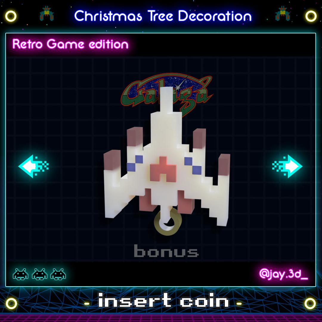 galaga ready.jpg Download STL file Christmas tree decoration (retro game edition) • 3D printable template, jayceedante