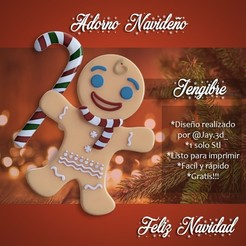 listo.jpg Download free STL file Christmas Ornament - Gingerbread Man • Design to 3D print, jayceedante