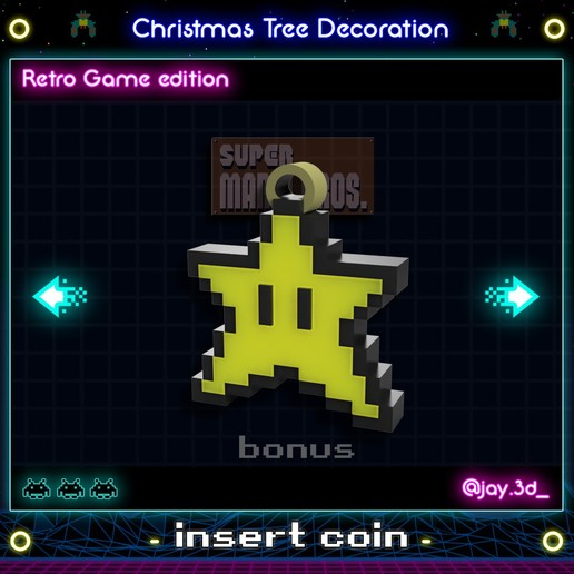 mario estrella ready.jpg Download STL file Christmas tree decoration (retro game edition) • 3D printable template, jayceedante
