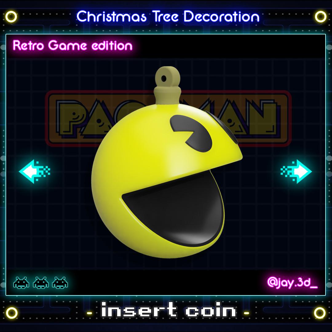 Pac-Man Ready.jpg Download STL file Christmas tree decoration (retro game edition) • 3D printable template, jayceedante