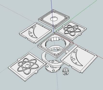 bbNLLEDBulbKit_skp_display_large.jpg Télécharger fichier STL gratuit badBrick - Lumière nocturne à détection de mouvement, kit complet de coque 3D. • Plan à imprimer en 3D, Lassaalk