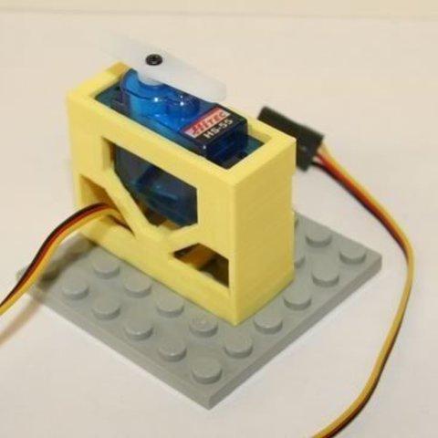 Download free 3D printer designs HiTEC HS-55 Micro Servo Brick Top Mount, Lassaalk