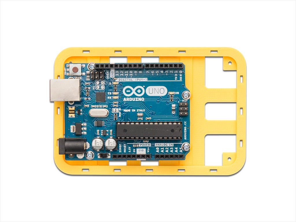 yellow_uno-com_display_large.jpg Download free STL file Modular Support (Case) for Arduino and Raspberry Pi - CustoBlocks • 3D print template, Lassaalk