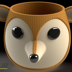ISO1.jpg Download STL file Cute fox Pot • 3D print design, SaenzRomero_Eureka3DED