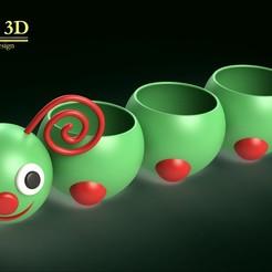 ISO1.jpg Download STL file ADORABLE CATERPILLAR POT • 3D printer object, SaenzRomero_Eureka3DED