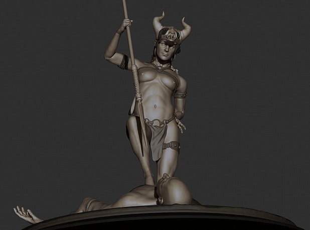 3c357f43d1717d79fc9e897d9f8abdc7_display_large.jpg Download free STL file Amazon warrior girl with the spiar • 3D printer design, Boris3dStudio