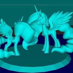 Télécharger fichier 3D gratuit Deux Poneys (MLP) Princesse Luna et Cadance, Boris3dStudio
