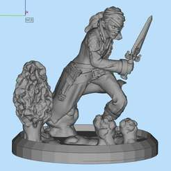 Download free 3D printing files Female assasin fixed for print and on a base, Boris3dStudio