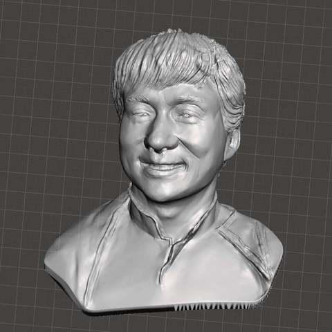 Download free STL Jackie Chan bust, Boris3dStudio