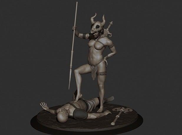 9f07865e2c7ad15a11b2407a3c5be4e4_display_large.jpg Download free STL file Amazon warrior girl with the spiar • 3D printer design, Boris3dStudio
