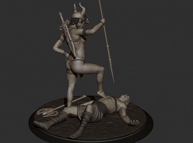 8e7e52ead99c7e49264e2da97048fc0a_display_large.jpg Download free STL file Amazon warrior girl with the spiar • 3D printer design, Boris3dStudio
