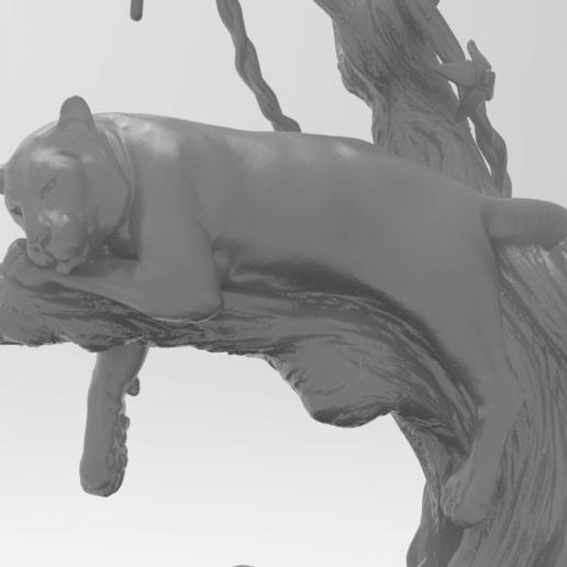 panter.242.png Télécharger fichier STL gratuit Panthère noire sur un arbre • Modèle à imprimer en 3D, Boris3dStudio