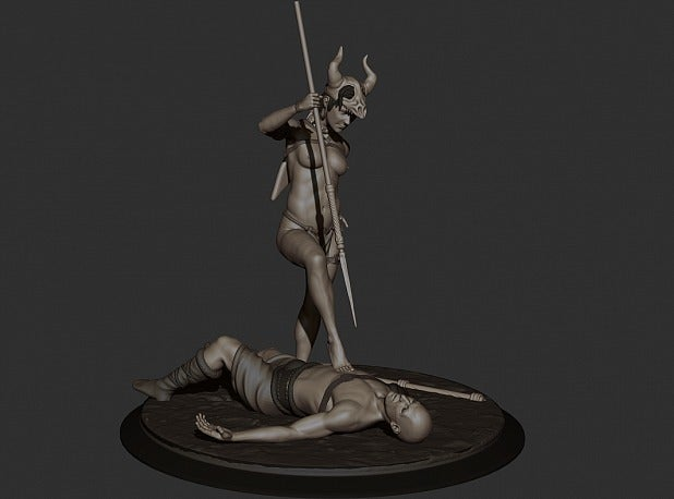 6b3670920f454eb8e55c2129a33ac2dd_display_large.jpg Download free STL file Amazon warrior girl with the spiar • 3D printer design, Boris3dStudio