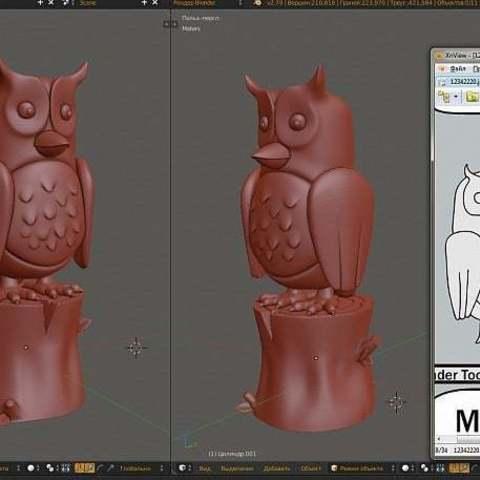 Télécharger fichier 3D gratuit Effective Manager owl (Сова Сова Эффективный Эффективный менеджер) Russian mem, Boris3dStudio