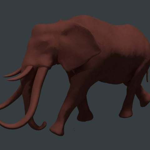 Download free STL file Gomphothere elephant with 4 tusks, Boris3dStudio