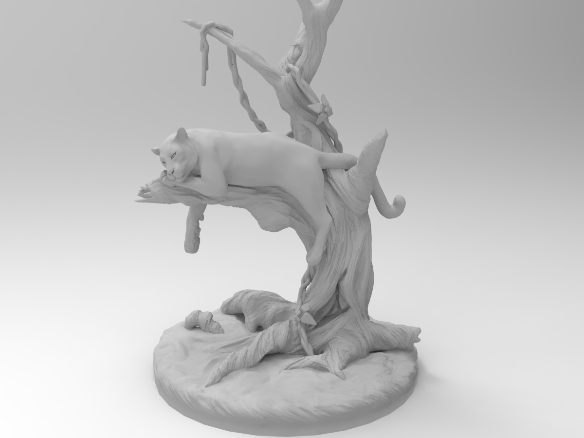 untitled.245.png Télécharger fichier STL gratuit Panthère noire sur un arbre • Modèle à imprimer en 3D, Boris3dStudio