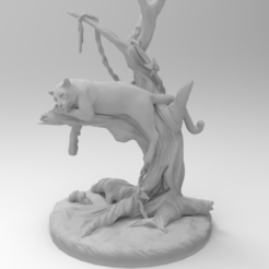 untitled.245.png Download free STL file Black panther on a tree • Design to 3D print, Boris3dStudio