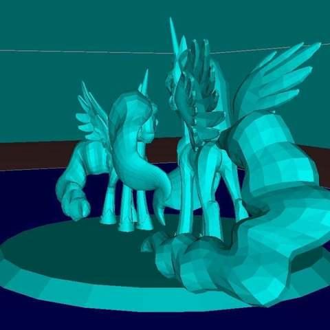 72eec0db78076ffff07bedca315f2b62_display_large.jpg Download free STL file Two Pony (MLP) Princess Luna and Cadance • Object to 3D print, Boris3dStudio