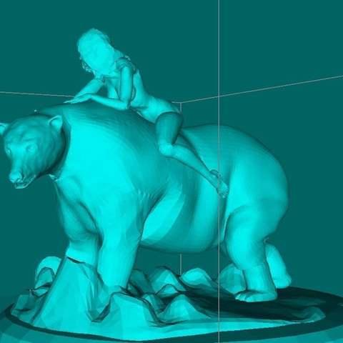 53147daeee4494de08520fcf3323e8d7_display_large.jpg Télécharger fichier STL gratuit Fille sur un ours polaire • Objet imprimable en 3D, Boris3dStudio
