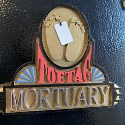 TOETAG MORTUARY SIGN.JPG Download STL file Toe Tag Mortuary sign • 3D printer object, skull13studio