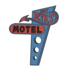 DEVILS MOTEL.jpg Download STL file Devil's Motel sign • Model to 3D print, skull13studio