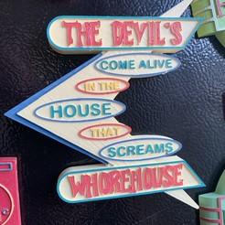 DEVILS WHOREHOUSE.JPG Download STL file Devil's Whorehouse sign • 3D printer object, skull13studio