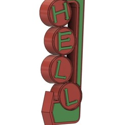 HELL SIGN .jpg Download STL file HELL SIGN • 3D print template, skull13studio