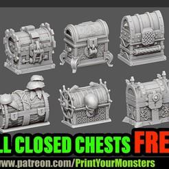CHESTS.jpg Télécharger fichier STL gratuit 6 COFFRES FERMÉS • Design à imprimer en 3D, PrintYourMonsters