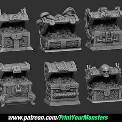 Download free STL files TREASURE CHEST OPENED, PrintYourMonsters