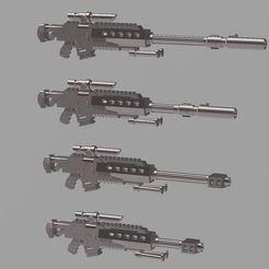 Imprimir en 3D gratis Rifle de francotirador de perno de 50 calibre Barrett, OrionRS