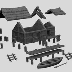FishermansHut2.jpg Télécharger fichier STL Paysage médiéval - Cabane de pêcheur et jetée • Modèle pour impression 3D, DarkRealms
