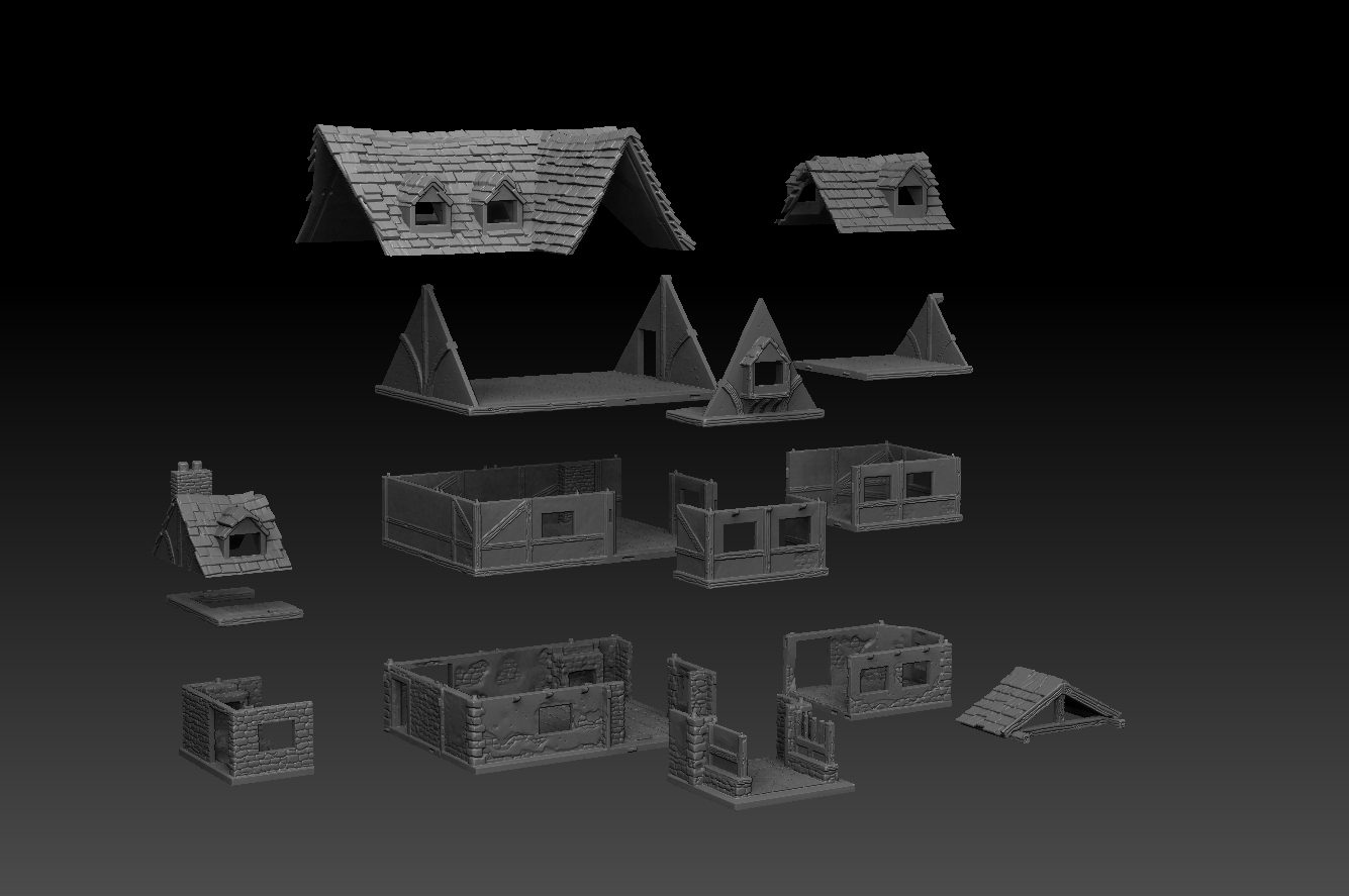 exploded.jpg Télécharger fichier STL Paysage médiéval - La Taverne • Objet imprimable en 3D, DarkRealms