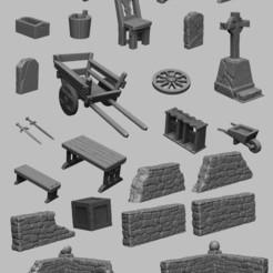 scatter.jpg Download STL file Medieval Scenery - Scatter Terrain 1 • 3D printer model, DarkRealms