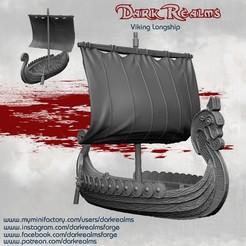 longShipRelease.jpg Télécharger fichier STL Paysage médiéval - Longs bateaux vikings • Design pour impression 3D, DarkRealms