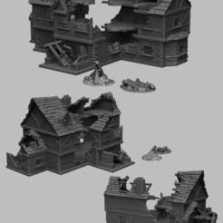 Télécharger fichier 3D Paysage médiéval - Taverne en ruines, DarkRealms