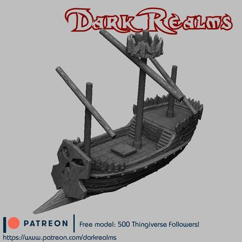 Download free STL Orc Pirate Ship, DarkRealms
