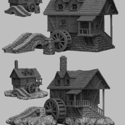 Descargar modelos 3D Paisaje Medieval - Molino de agua, DarkRealms