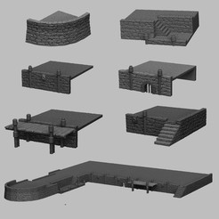 Download 3D printer designs Medieval Scenery - Harbour Walls, DarkRealms