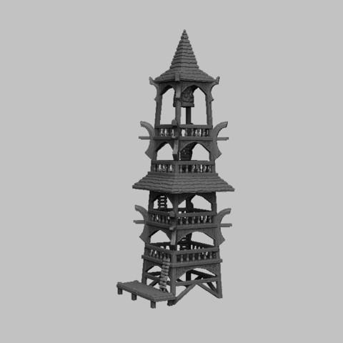 Télécharger fichier imprimante 3D Paysage médiéval - Tour de guet Laketown, DarkRealms