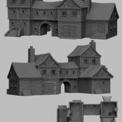 Download STL file Medieval Scenery - Merchant's Manor • 3D print template, DarkRealms