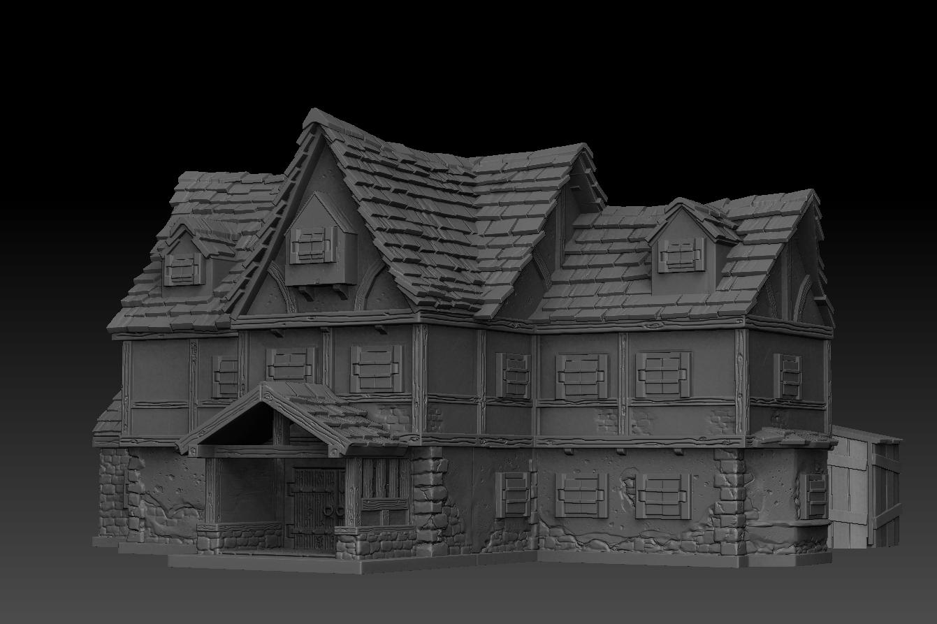 tavern_v2c.jpg Télécharger fichier STL Paysage médiéval - La Taverne • Objet imprimable en 3D, DarkRealms