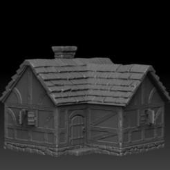 Download STL file Medieval Scenery - House 3 • 3D printer object, DarkRealms